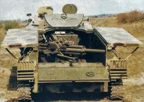 Эта самоходная установка представляет собой качающуюся часть миномёта 2Б9М, установленную на модифицированное шасси гусеничного тягача МТ-ЛБ
